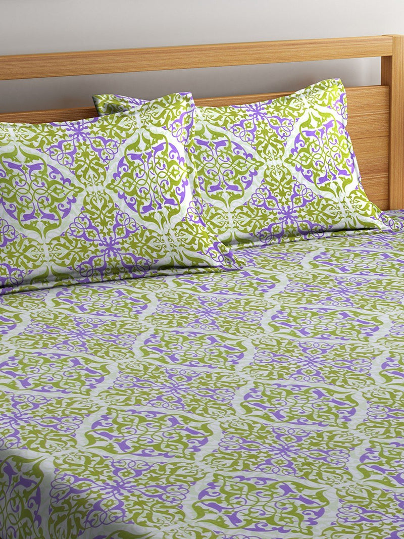 OYSTER  Green Cotton 144 TC Double Bed Sheet With Pillow Covers