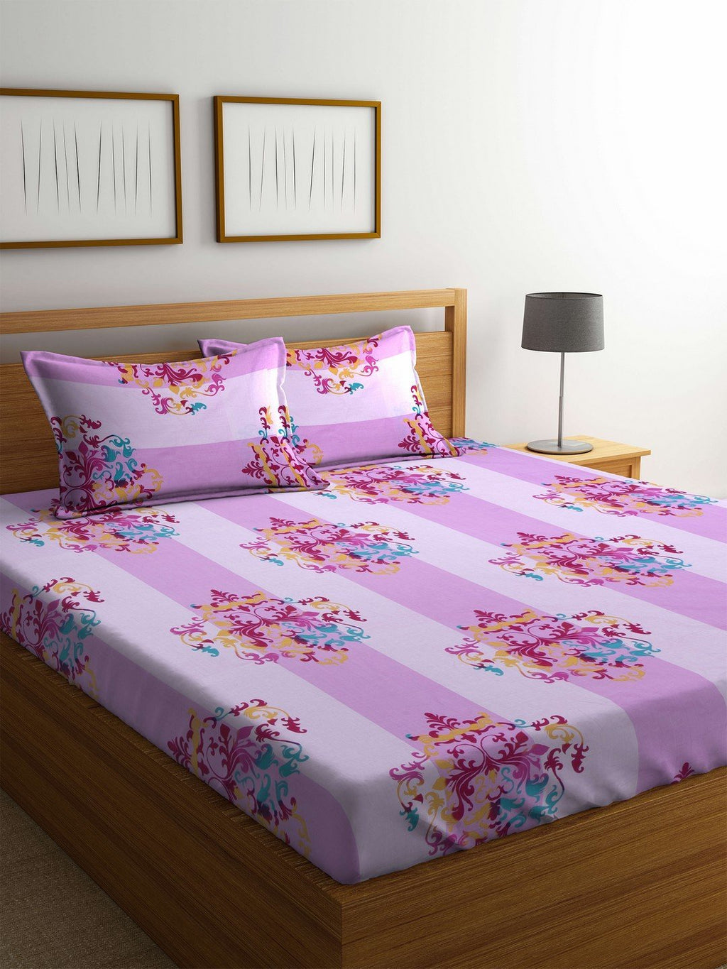 OYSTER  Pink Cotton 144 TC Double Bed Sheet With Pillow Covers