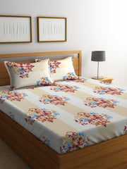 Mafatlal Grey Cotton 144 TC Double Bed Sheet With Pillow Covers