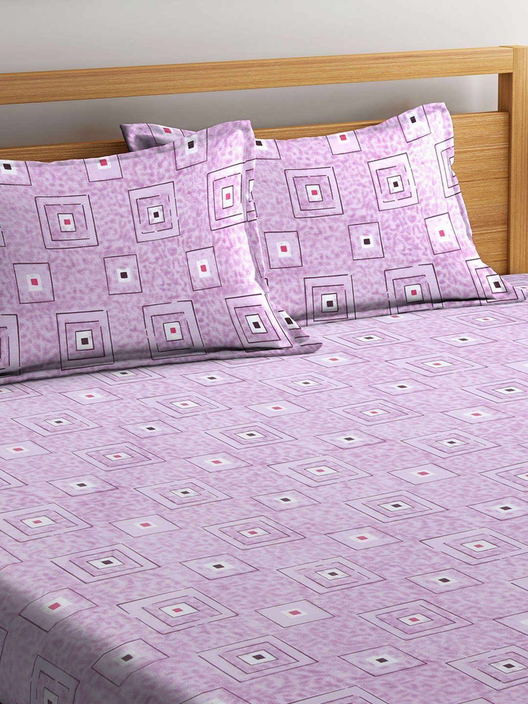 Mafatlal Pink Cotton 144 TC Double Bed Sheet With Pillow Covers