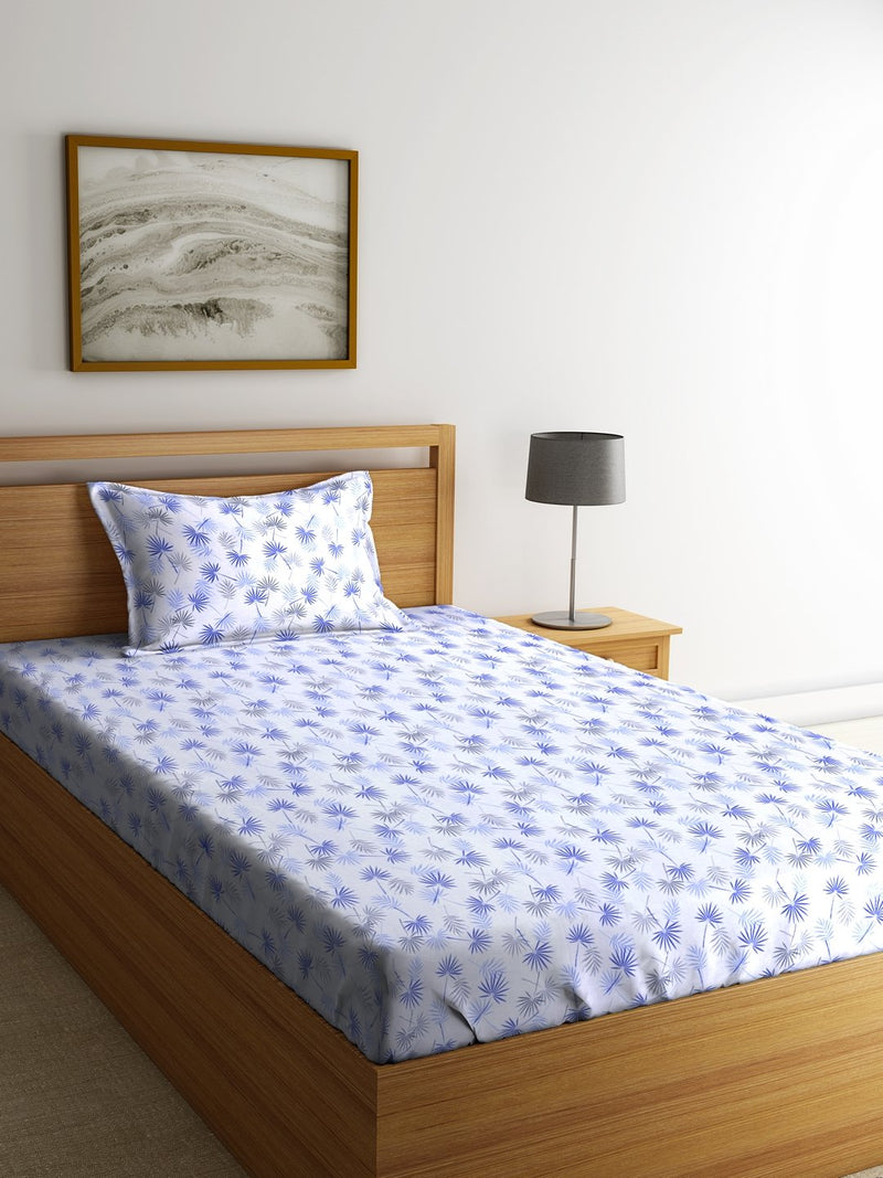 OYSTER Blue Cotton 144 TC Single Bed Sheet