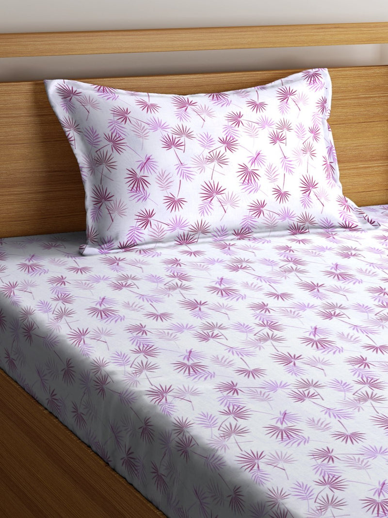 OYSTER White Cotton 144 TC Single Bed Sheet