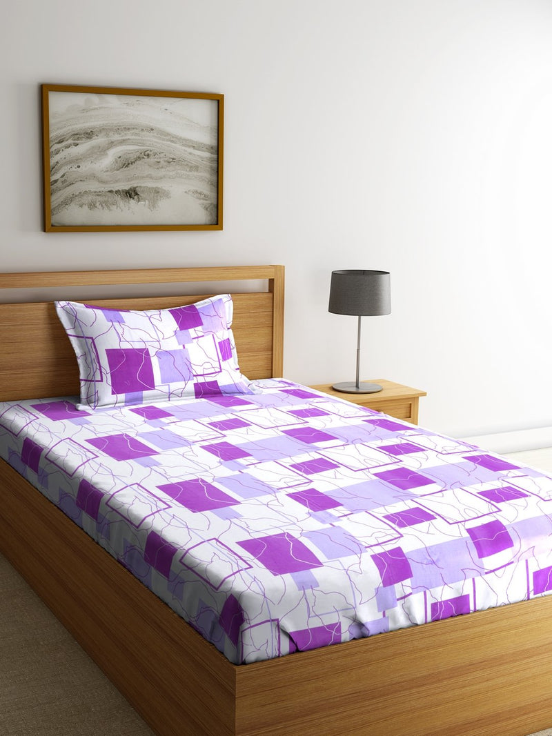 OYSTER Violet Cotton 144 TC Single Bed Sheet