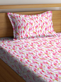 OYSTER Pink  Cotton 144 TC Single Bed Sheet