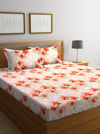 Orange Cotton 120 TC Double Bed Sheet with 2 Pillow Covers