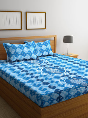 Blue Cotton 120 TC Double Bed Sheet with 2 Pillow Covers