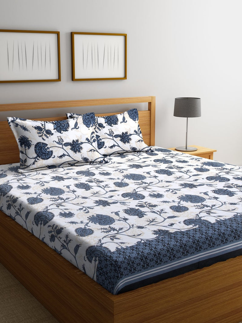 White Cotton 120 TC Double Bed Sheet with 2 Pillow Covers