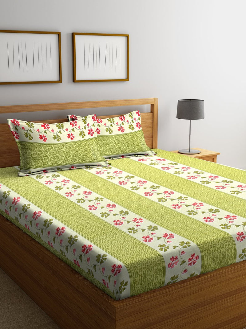 Green Cotton 120 TC Double Bed Sheet with 2 Pillow Covers