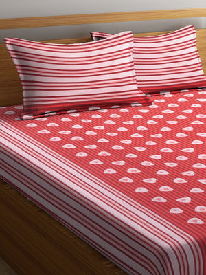 Burgundy Cotton 120 TC Double Bed Sheet with 2 Pillow Covers