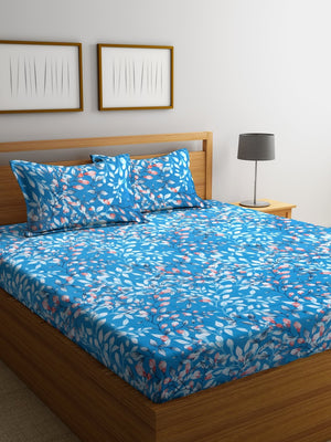 Navy Blue Cotton 120 TC Double Bed Sheet with 2 Pillow Covers