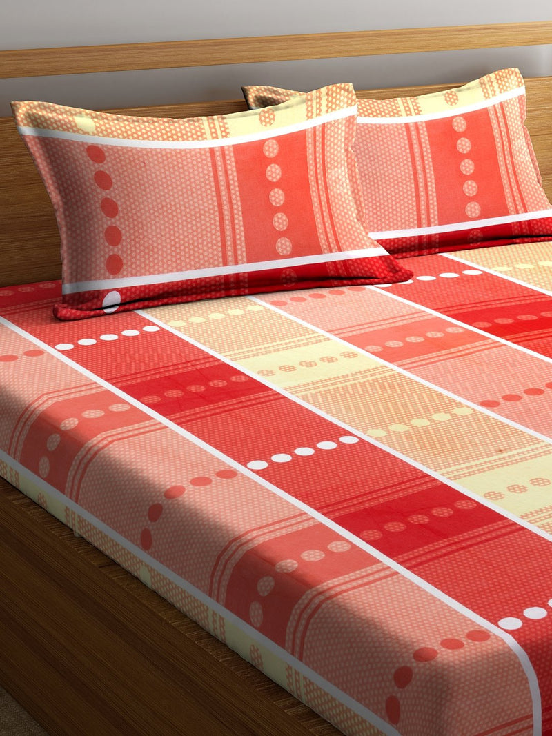 Peach Cotton 120 TC Double Bed Sheet with 2 Pillow Covers