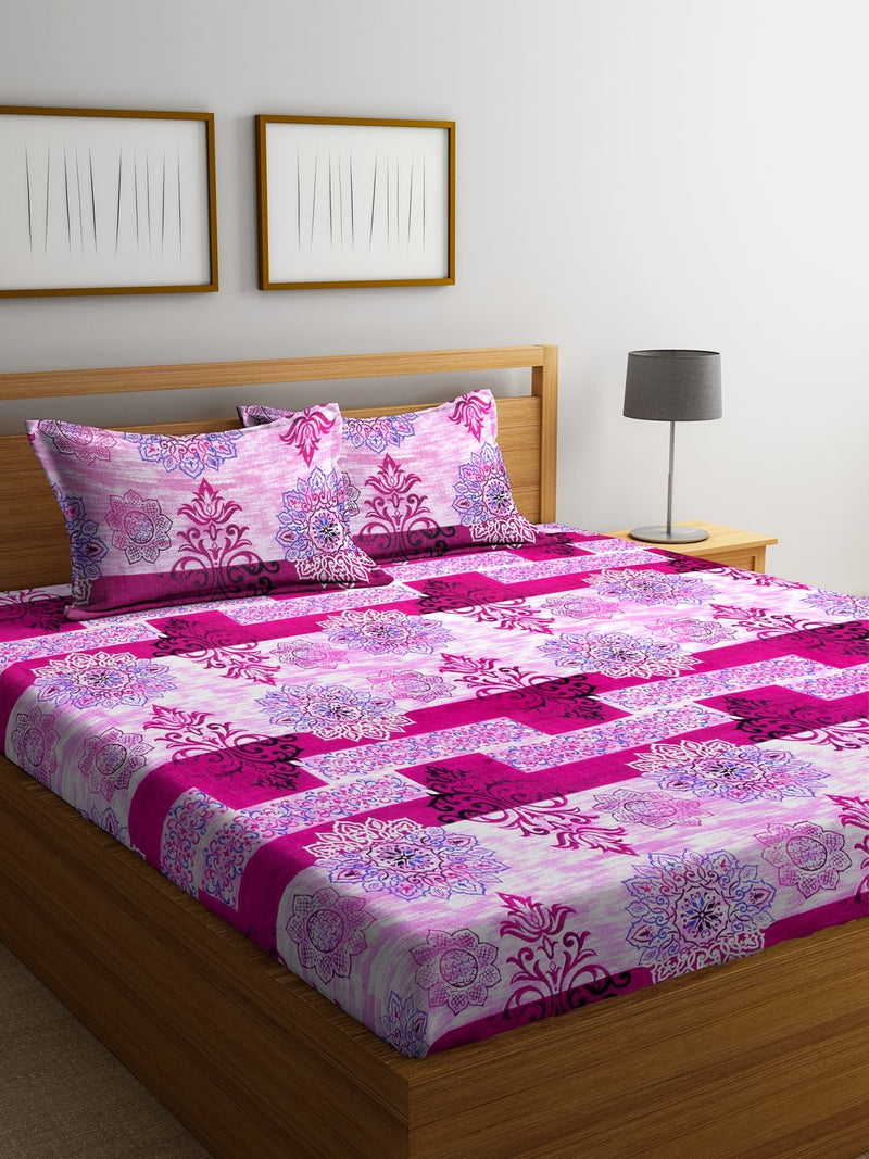 Pink Cotton 120 TC Double Bed Sheet with 2 Pillow Covers