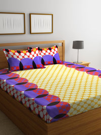 Yellow Cotton 120 TC Double Bed Sheet with 2 Pillow Covers