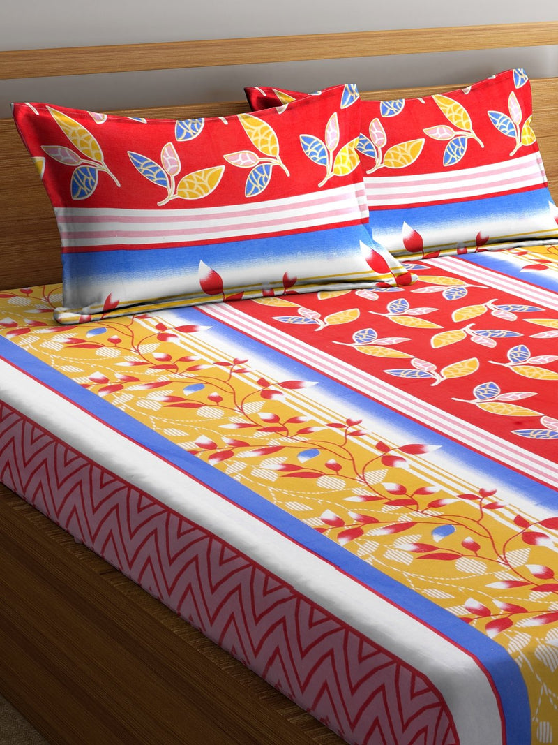 Red Cotton 120 TC Double Bed Sheet with 2 Pillow Covers
