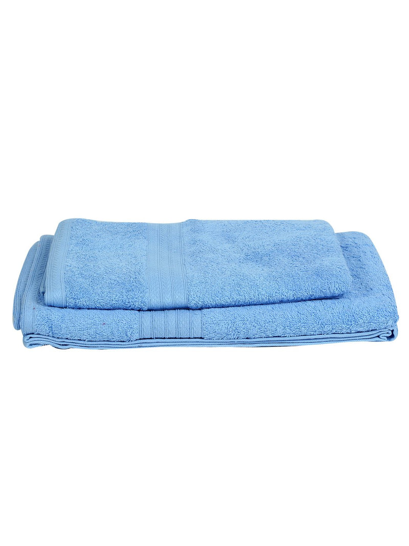 Set of 2 His & Her Blue Cotton 450 GSM Bath Towel Set