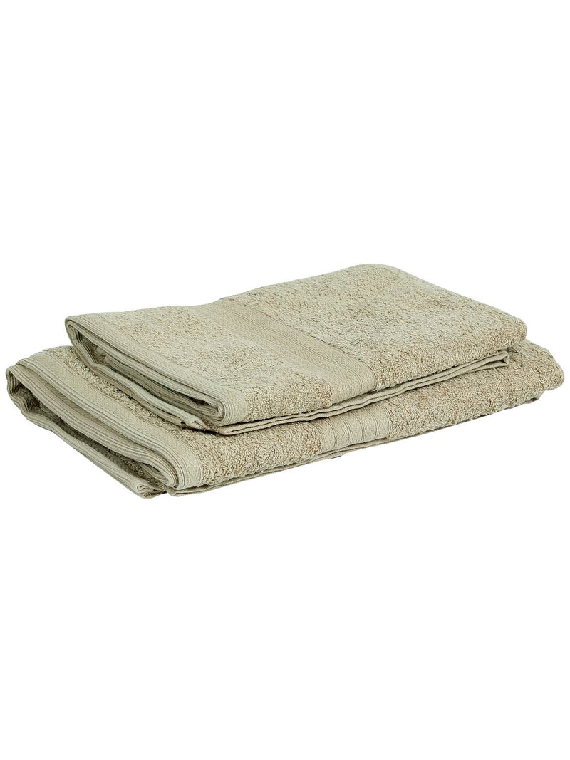 Set of 2 His & Her Beige Cotton 450 GSM Bath Towel Set