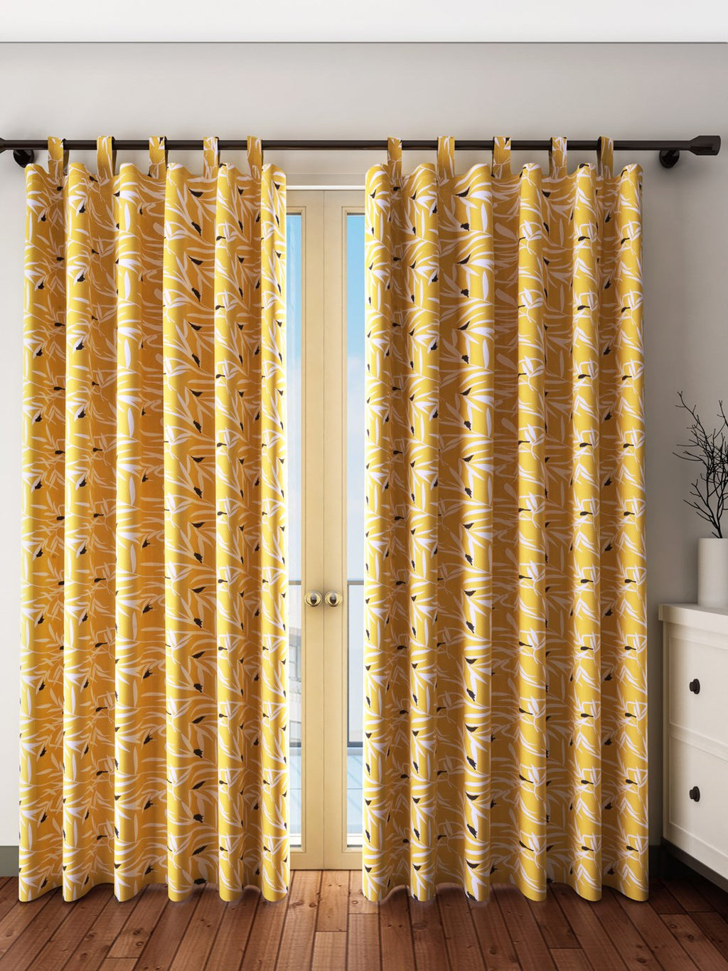 Handcrafted Ocre Bequest Curtains (Set of 2)