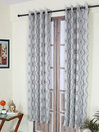 RANGRAGE 1 Piece Eyelet Polyester Door Curtain, 7ft, Grey