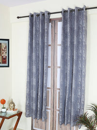 RANGRAGE 1 Piece Eyelet Polyester Door Curtain, 7ft, Blue