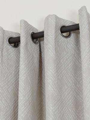 RANGRAGE 1 Piece Eyelet Polyester Door Curtain, 7ft, Silver White