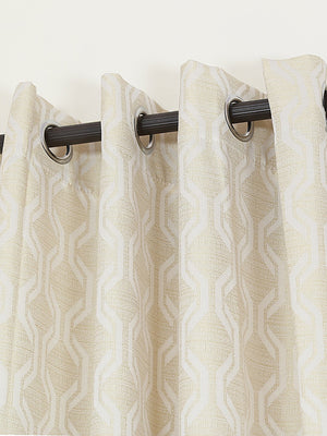 RANGRAGE 1 Piece Eyelet Polyester Door Curtain, 7ft, Cream & Gold