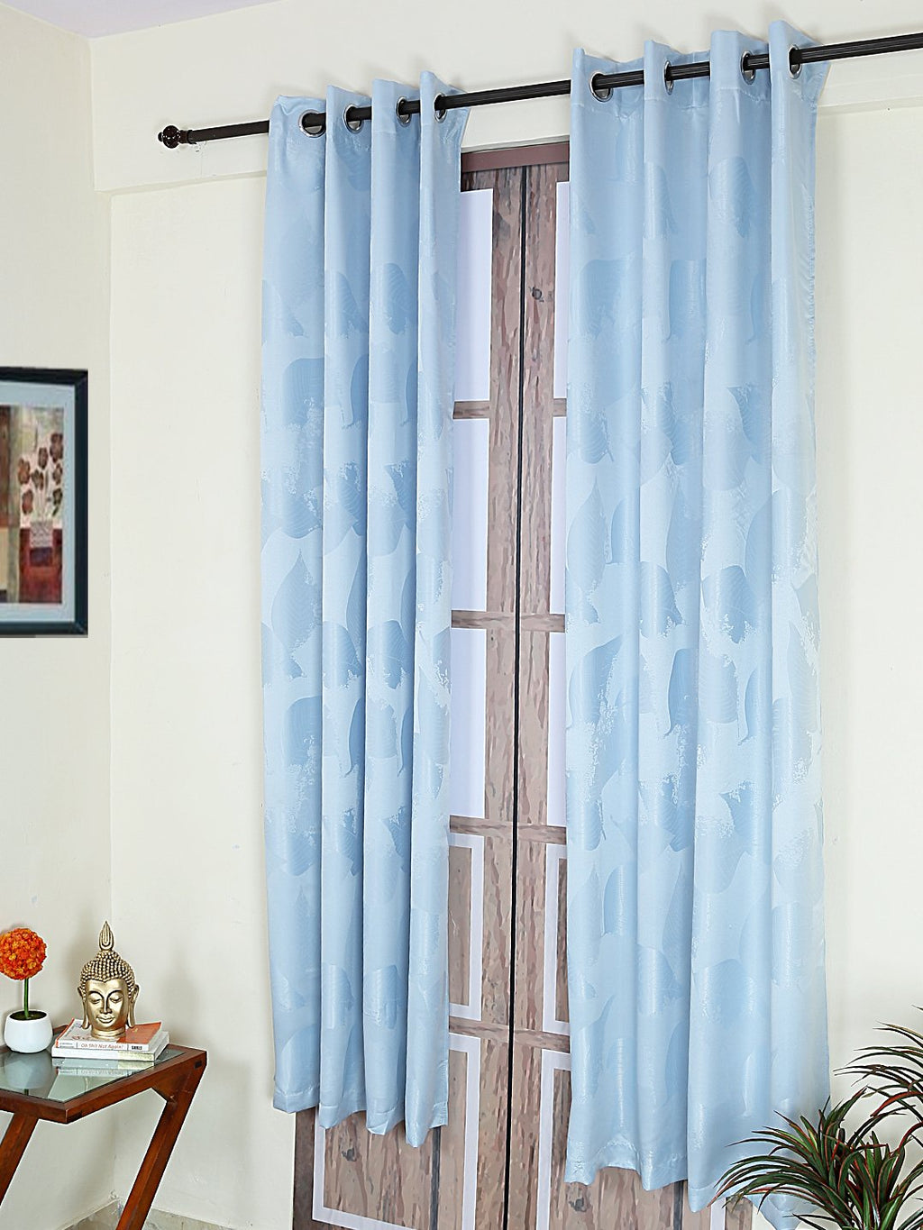 RANGRAGE 1 Piece Eyelet Polyester Door Curtain, 7ft, Soothing Blue