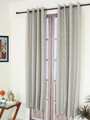 RANGRAGE 1 Piece Eyelet Polyester Door Curtain, 7ft, Gold & White