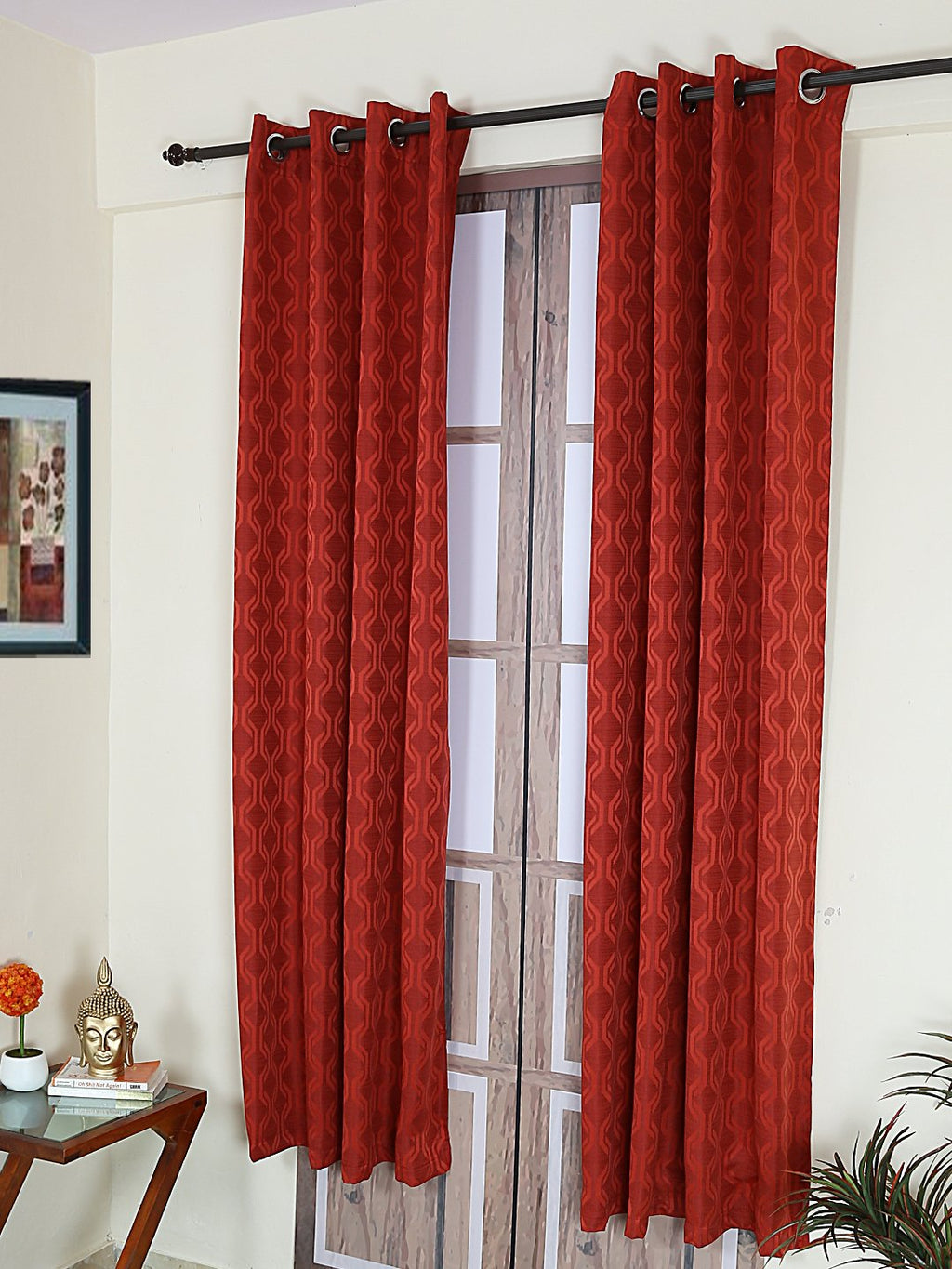 RANGRAGE 1 Piece Eyelet Polyester Door Curtain, 7ft, Red