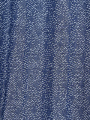 RANGRAGE 1 Piece Eyelet Polyester Door Curtain, 7ft, Blue & White