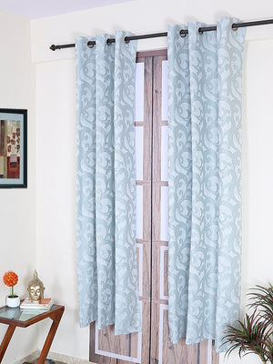 RANGRAGE 1 Piece Eyelet Polyester Door Curtain, 7ft, Turqoise Blue