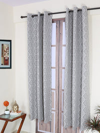 RANGRAGE 1 Piece Eyelet Polyester Door Curtain, 7ft, Grey & White