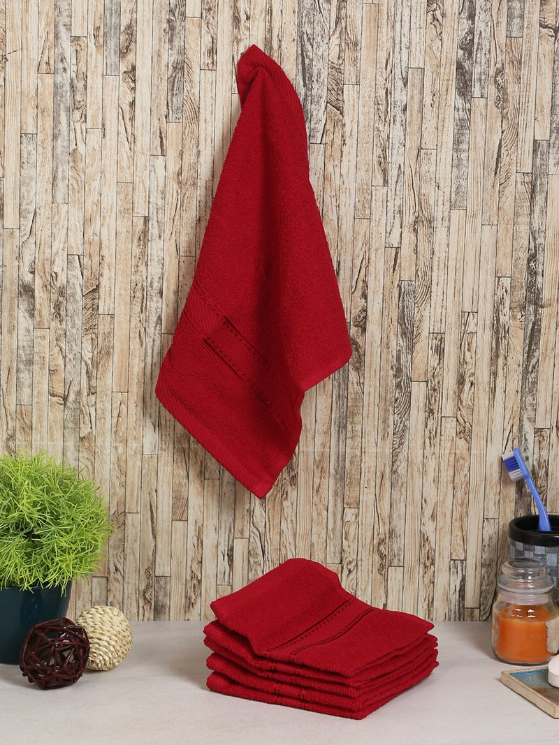 Maroon 100% Cotton 500 GSM Face Towel (SET OF 6)