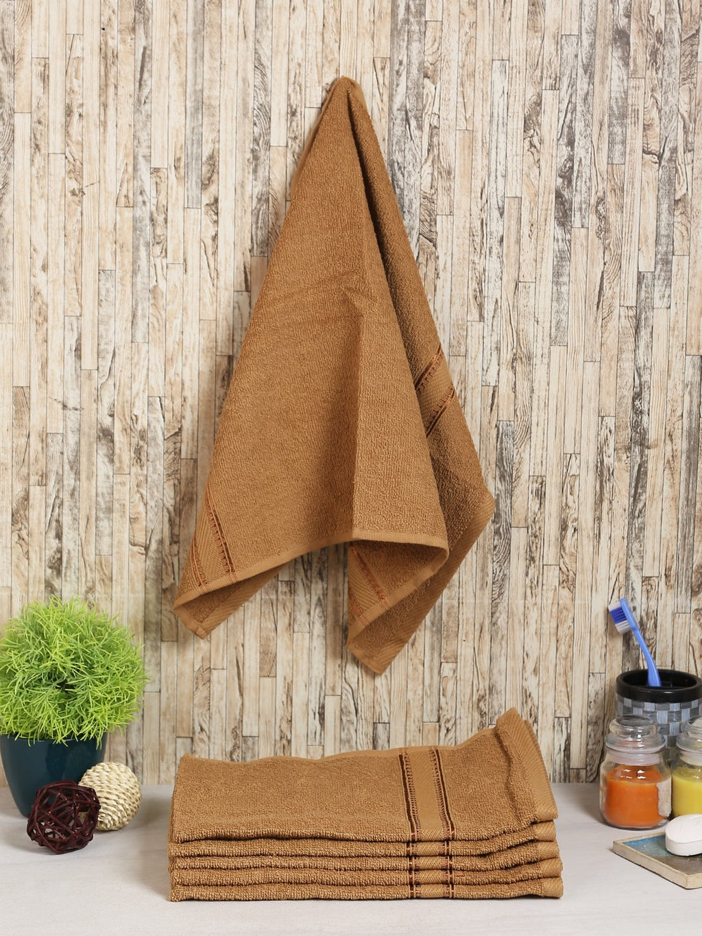 Beige 100% Cotton 500 GSM Hand Towel (SET OF 6)