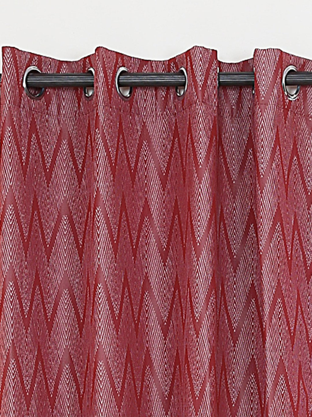 RANGRAGE 1 Piece Eyelet Polyester Window Curtain, 5ft, Maroon & White