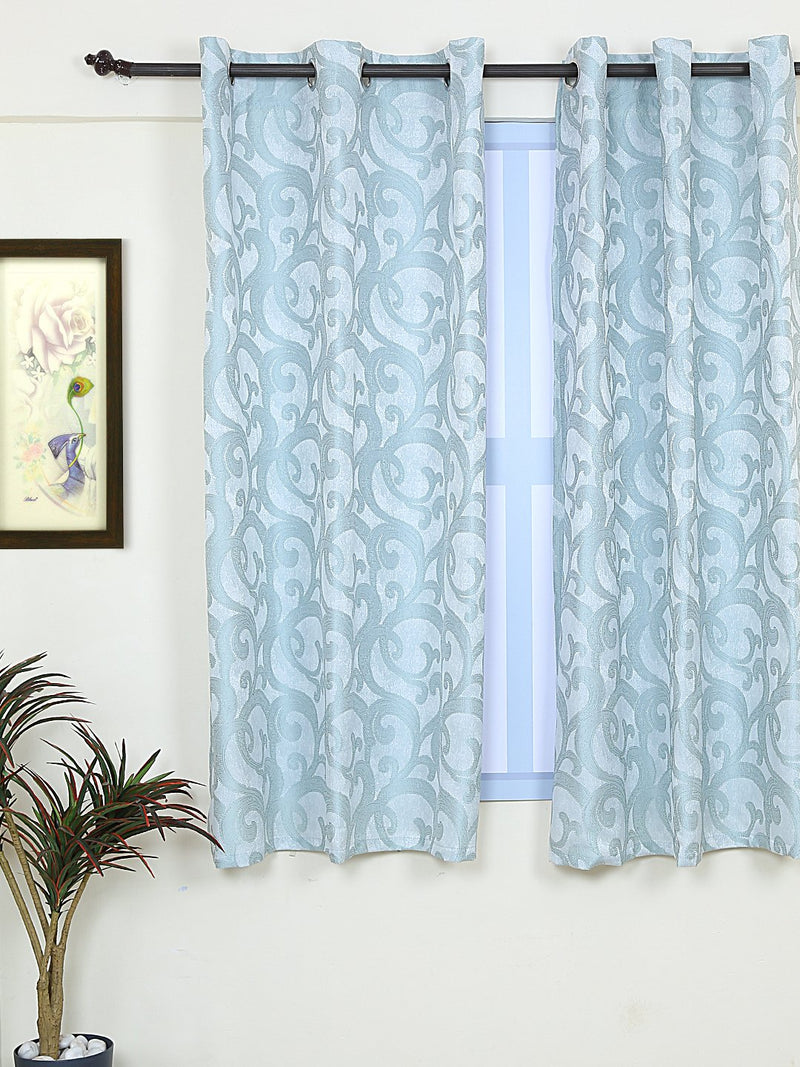 RANGRAGE 1 Piece Eyelet Polyester Window Curtain, 5ft, Soothing Turquoise Blue