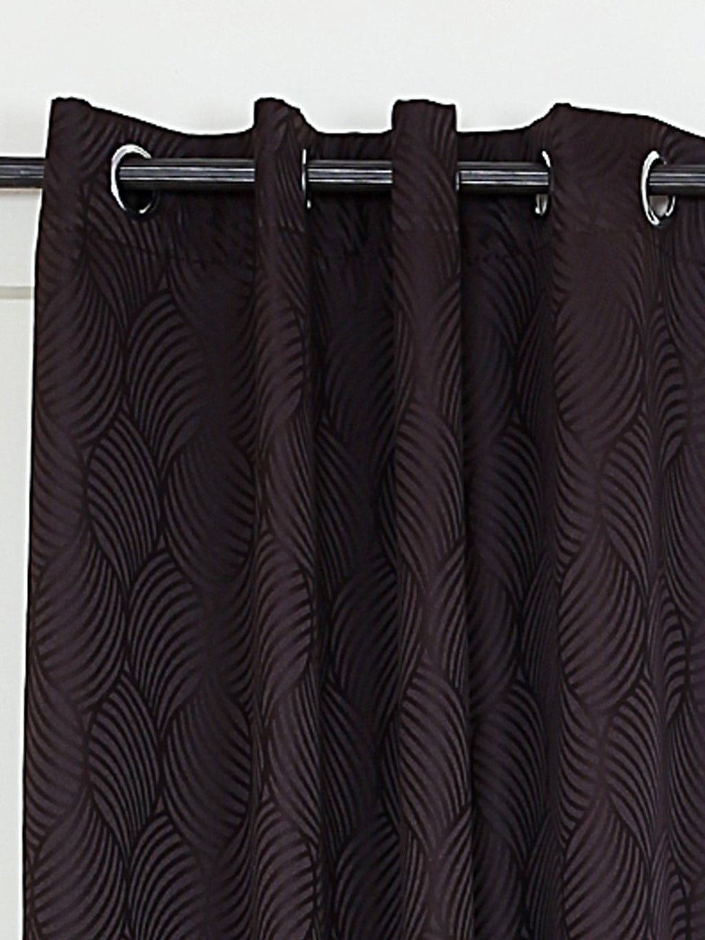 RANGRAGE 1 Piece Eyelet Polyester Window Curtain, 5ft, Brown