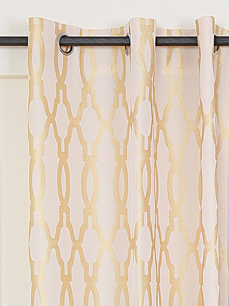 RANGRAGE 1 Piece Eyelet Polyester Window Curtain, 5ft, Gold & Cream