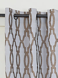 RANGRAGE 1 Piece Eyelet Polyester Window Curtain, 5ft, Gold & Light Grey
