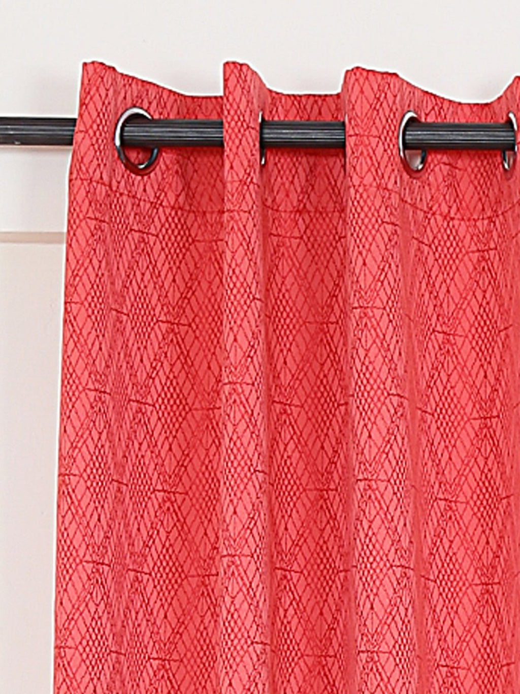 RANGRAGE 1 Piece Eyelet Polyester Window Curtain, 5ft, Peach