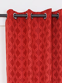 RANGRAGE 1 Piece Eyelet Polyester Window Curtain, 5ft, Red