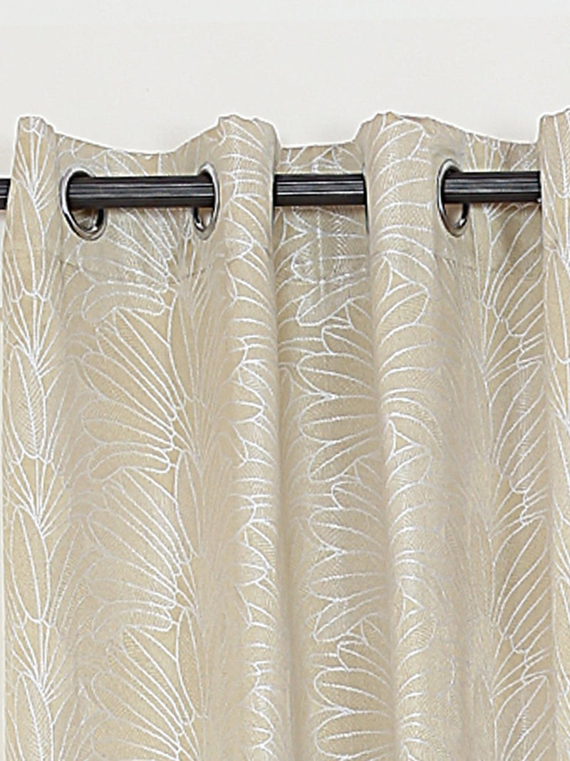RANGRAGE 1 Piece Eyelet Polyester Window Curtain, 5ft, Gold & White