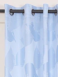 RANGRAGE 1 Piece Eyelet Polyester Window Curtain, 5ft, Soothing Blue