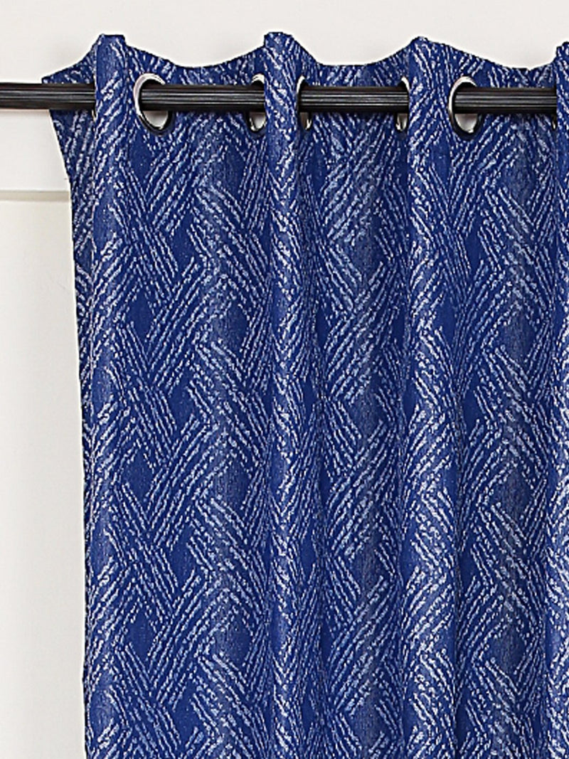 RANGRAGE 1 Piece Eyelet Polyester Window Curtain, 5ft, Blue & White
