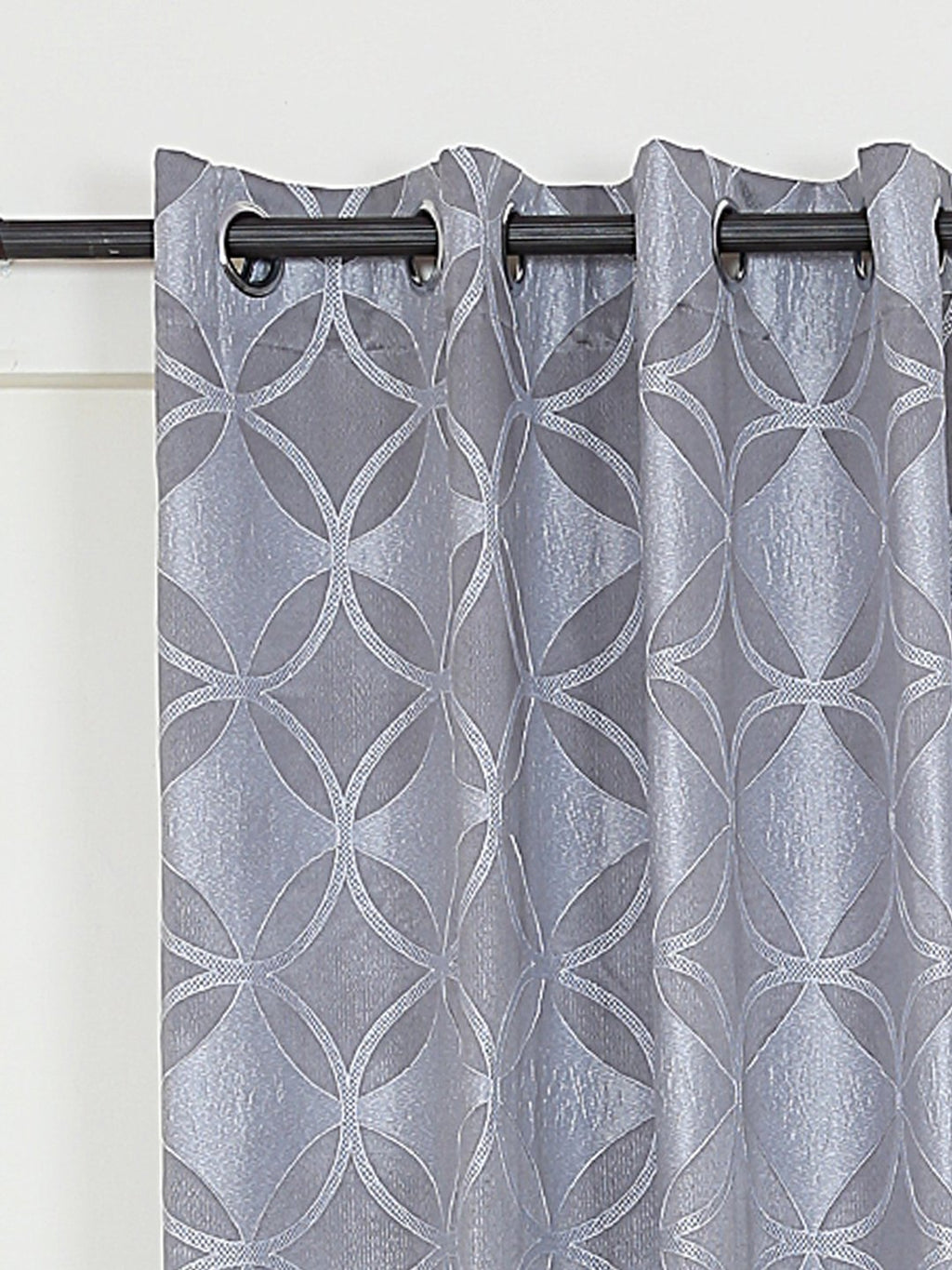 RANGRAGE 1 Piece Eyelet Polyester Window Curtain, 7ft, Grey & White