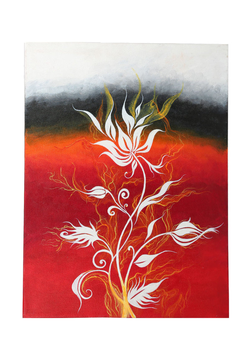 Hand-painted Elegant White Flower Classic Painting - RANGRAGE