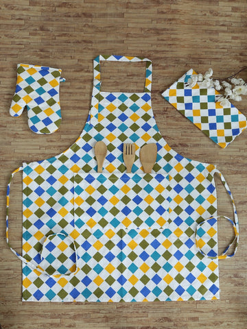 Hand-stitched Checkered Delight Kitchen Set (Set of 3)