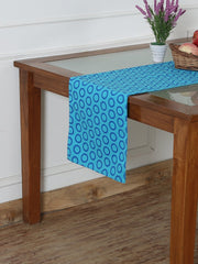 Handcrafted Azure Artistry Table Runner