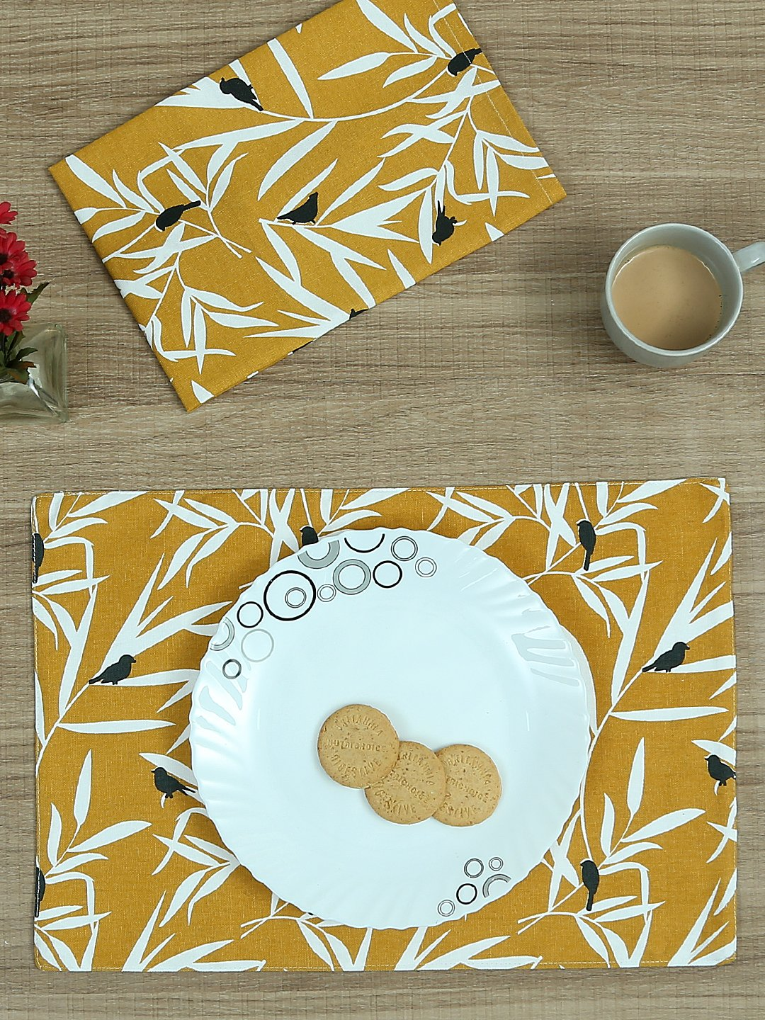Handcrafted Ocre Bequest Set of Table Linen (12 Pcs)