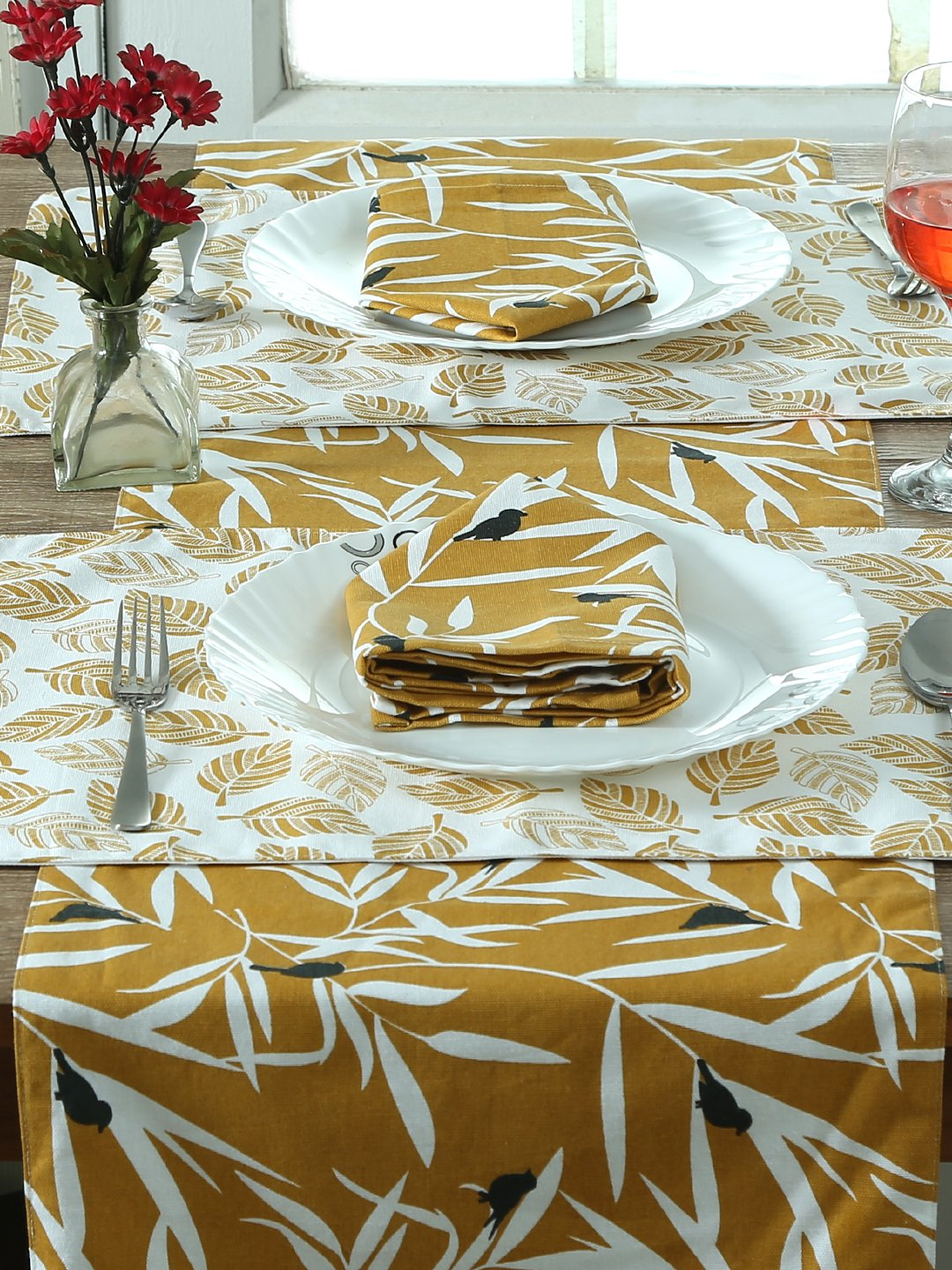 Handcrafted Ocre Bequest Set of Table Linen (13 Pcs)