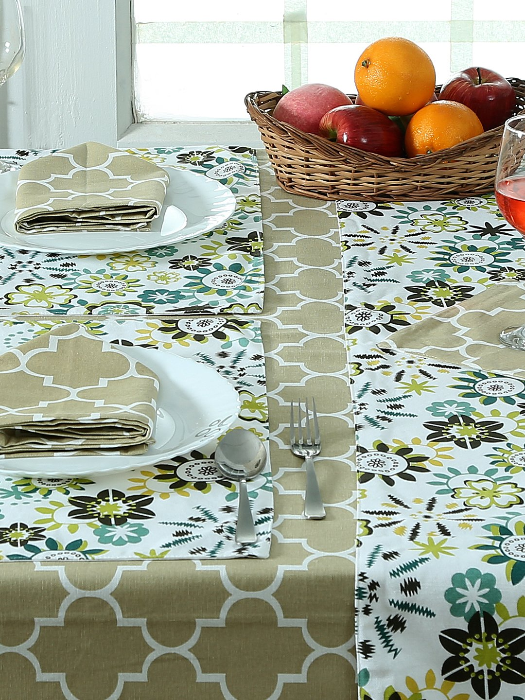 Handcrafted Persian Green Set of Table Linen (16 Pcs)